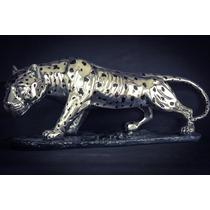 Escultura Jaguar Muy Grande Plata 999 Electroformado Figura
