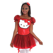 Sexy Vestido Disfraz Hello Kitty Rojo Mini Crinolina Body