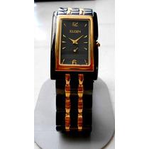 Reloj Elgin Caballero Ergonomico Dorado Negro Ultima Pieza