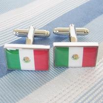 Mancuernillas Gemelos Camisa Bandera De Mexico Acero Traje