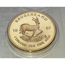 Krugerrand Sudafricano, Moneda Cubierta En Oro De 24k
