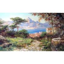 Pintura Al Oleo/acrilico Paisaje Mediterraneo Pintado A Mano