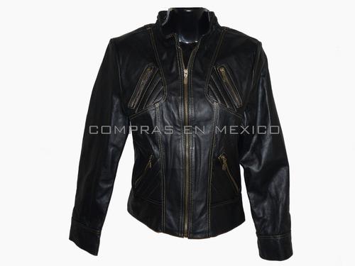 Chamarra De Piel Para Dama Color Negro Talla S Y L en venta en ... 80438474a28f