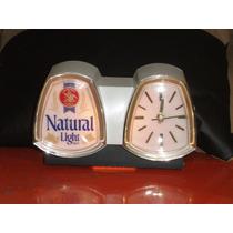 Reloj Y Anuncio Luminoso Natural Ligth Beer Cerveza Antiguo
