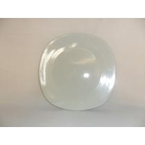 Plato Cuadrado De Loza Trinche De 25.5 Cm Color Blanco