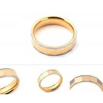 Anillo De Tungsteno Plata - Dorado Diseño Geometrico