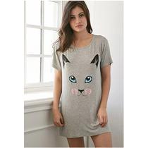 Forever 21 Camison Pijama Dama Gato Talla Chica
