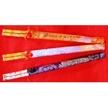 Lote De 6 Pares De Palillos Chinos /chopsticks Con Funda