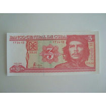 Billete De Cuba Del Che Guevara - 3 Pesos - Unc