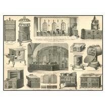 Lienzo Tela Grabado Equipo Cocinas Antiguas 1890 50 X 64 Cm