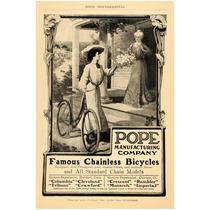 Lienzo Tela Bicicleta Antigua Pope Mfg Com 1904 75 X 50 Cm