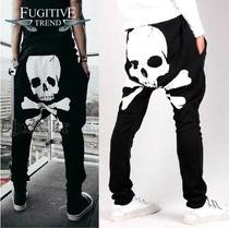 Nuevo Modelo Pants Harem Skull Baggy Negro Blanco