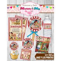 Invitacion Cumpleaños Jake Y Los Piratas Kit Imprimelo Tú!!