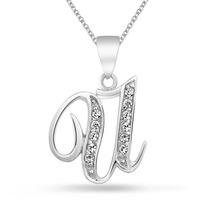 Collar Bling Jewelry Alfabeto Inicial U Cursiva Plata