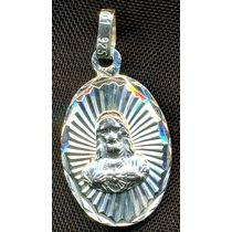 Medalla Del Sagrado Corazon De Jesus Plata .925