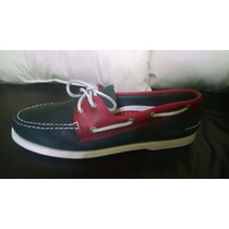 Zapatos Top Sider Piel Azul- Rojo Original Envio Gratis