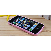 Bumper Rosa Con Parte Trasera Transparente Para Iphone 5 5s