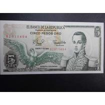Colombia Billete 5 Pesos Oro Fecha 1980