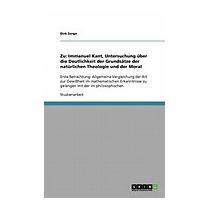 Zu: Immanuel Kant, Untersuchung Uber Die, Dirk Sorge