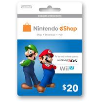 Tarjetas Eshop De Nintendo 3ds Y Wii U Americana 20usd