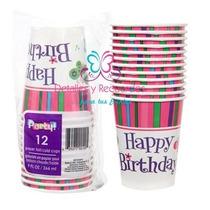 12 Vasos Desechables Infantil Fiesta Niños Piñata De 9 Oz
