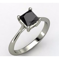 Anillo Con Diamante Cultivado Negro 150 Pts. Princess