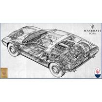 Lienzo Tela Maserati Bora Sketch Original Italia 1971 50x90