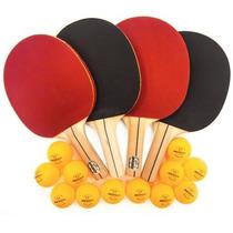 Set De 4 Raquetas De Ping Pong Y 1 Docena De Pelotas Newgy