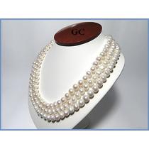 Collar De Perlas Naturales Con Broche De Oro 18k Triple