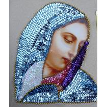 Virgen Dolorosa Parche Lentejuela Aplicacion Lentejuela