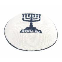 Kippah Kippot Tejida Importada De Israel. Menorah Azul