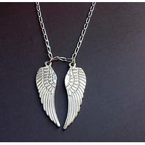 Collar Cadena Y Alas De Angel Fino Detalle Plata Ley