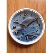 Bonito Reloj De Pared Imagen Delfines En 3d, Cuarzo, Nuevo.
