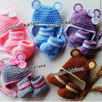 Gorro Y Botitas Tejidos Bebés Crochet