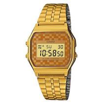 Reloj Casio Retro A159 Dorado Cuadros Cafes 100% Original