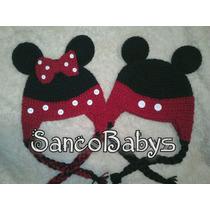 Hermosos Gorros Tejidos De Crochet Mickey Y Minnie Mause