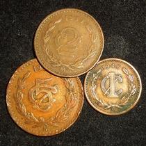 Monedas 1, 2 Y 5 Centavos Monograma Cobre Bronce