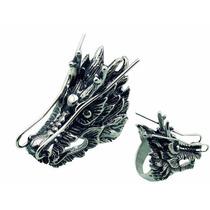 Anillo De Acero Inoxidable Diseño Magno Dragón Oriental