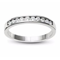 Churumbela Oro Blanco 10kt Gruesa 3.7mm Con Diamante Ruso