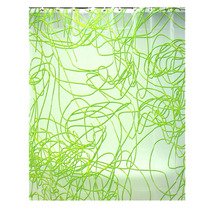 Cortina Para Baño Color Verde Con Blanco Diseño Spaguetti