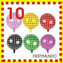 10 Globos Metálicos Lunares Fiesta Dots Dj Mini Mickey