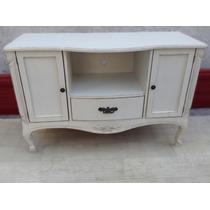 Mueble De Tv Vintage, Comoda Estilo Antiguo En Cedro Tallado