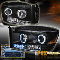 Dodge Ram Faros Proyector Doble Aro Angel Punto De Led Au1