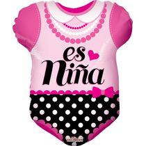 5 Globos Metálicos Baby Shower Pañalero Es Niña 18 Pulgadas