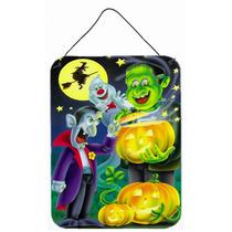 Halloween Con Drácula Y Frankenstein Pared O Puerta Colgand