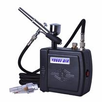 Sistema Aerografia Aerografo Y Compresor Vogue Kit Calidad