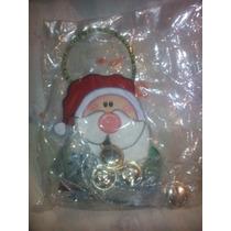 Adorno De Navidad Santa Claus Con Cascabel En Madera