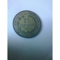 Moneda Antigua 25 Centavos 1892 Costa Rica