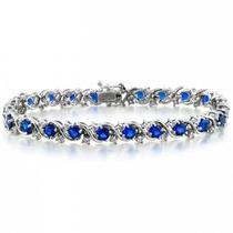 Bling Jewelry Azul Zafiro Cz Saludó Tenis Pulsera 7in