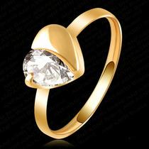 Anillo Corazon Diamante Chapa De Oro 18k Zirconia Regalo